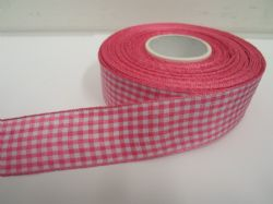 Barbie bright Pink 2 metres or full roll x 25mm Gingham Ribbon Double Sided check UK